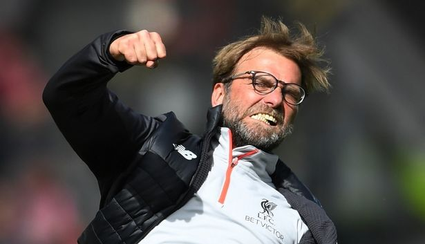 Klopp celebrates a goal at Anfield