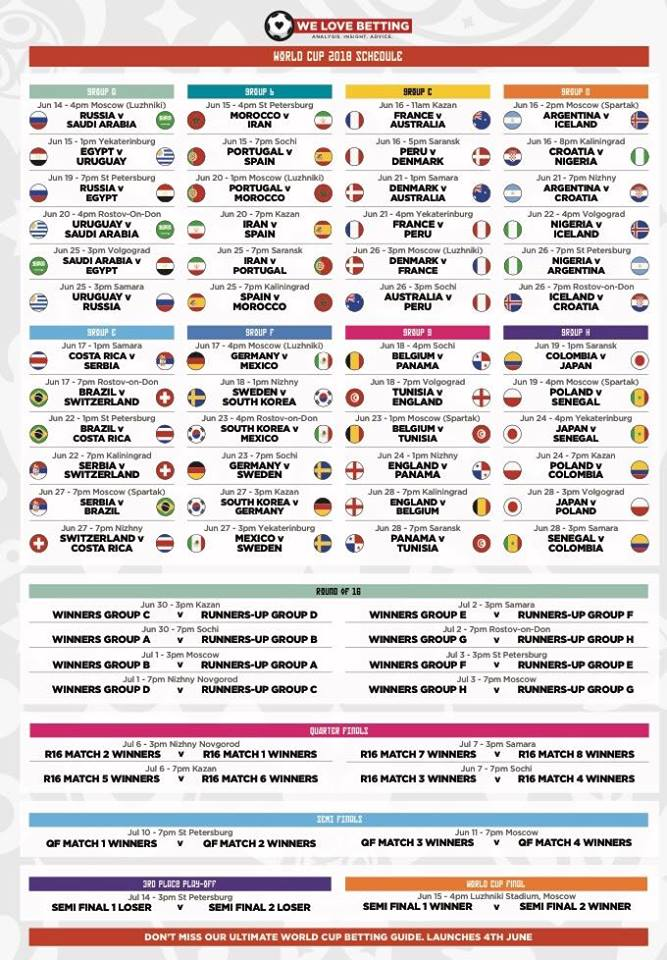 This is a photo of Printable World Cup Schedule within poster